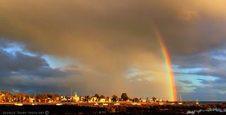 evening light with rainbow