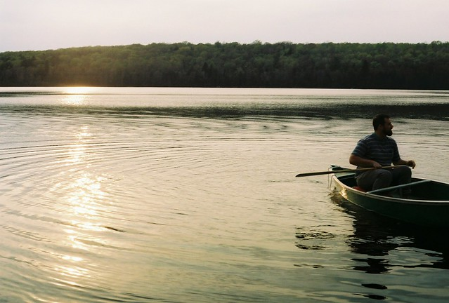 sunset canoeing.