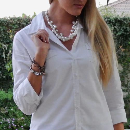 Outfit: seersucker + pearls