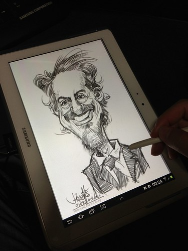 Robert Downey digital caricature pencil sketch on Samsung Galaxy Note 10.1