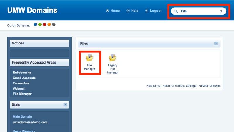 File Manager Link