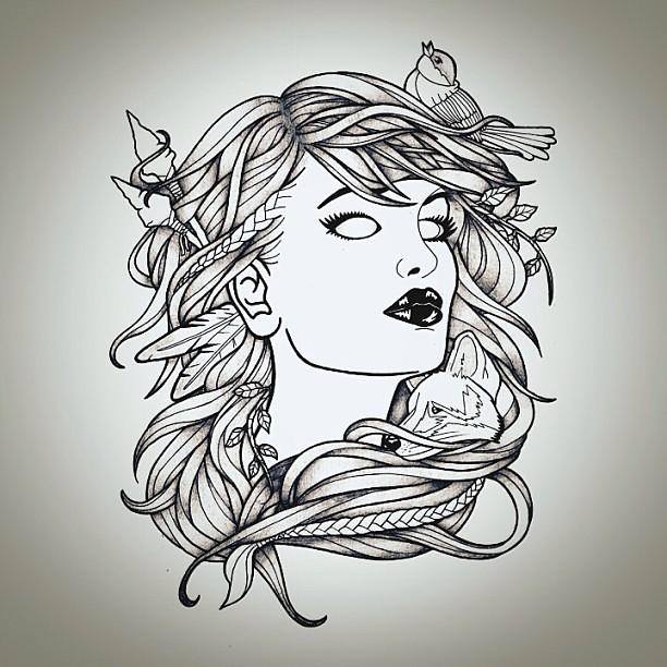nature girl pri... Naturalistic Design Drawing