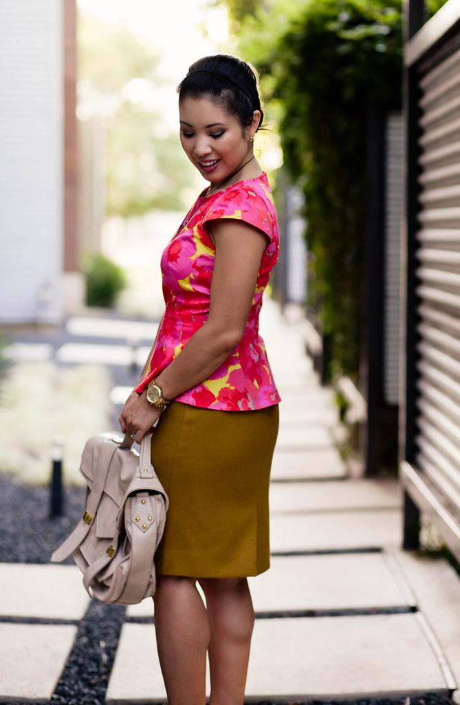loft floral peplum top, j. crew no. 2 mustard pencil skirt, uncommon goods susan harbourt copper rays necklace