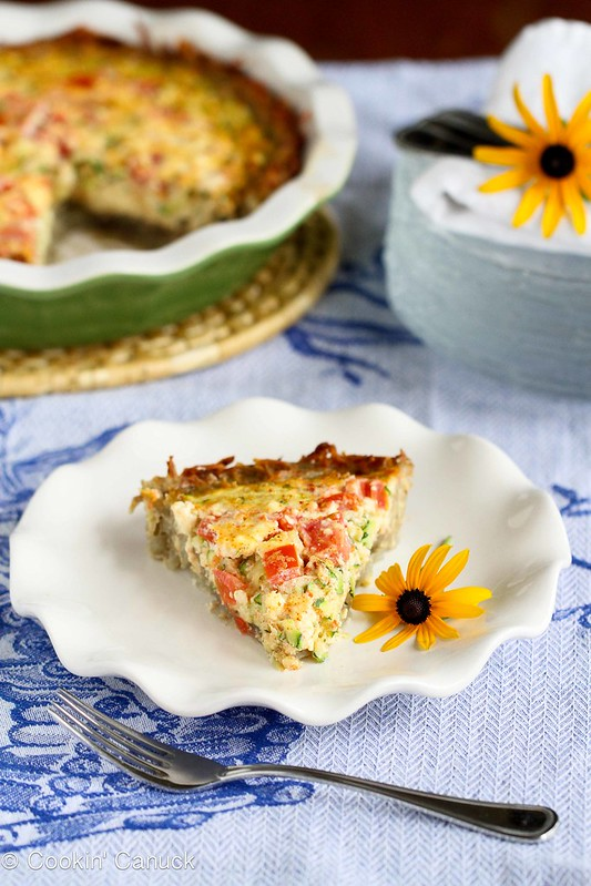 Healthy Potato-Crusted Vegetarian Quiche Recipe with Zucchini, Tomatoes & Feta