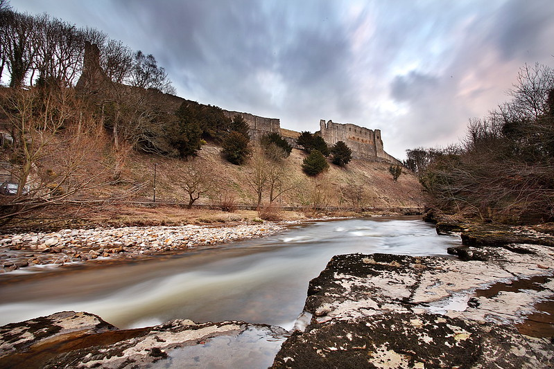 Richmond Castle, North Yorkshire, taken from the banks of the River Swale.