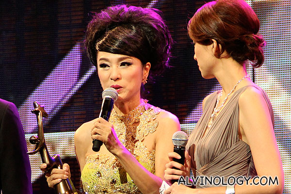 Michelle Yim on stage to receive her award - she still look so gorgeous at her age!
