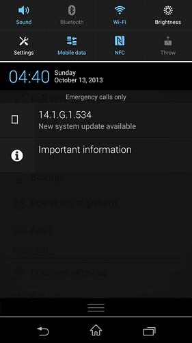 Notification bar ของ Sony Xperia Z1