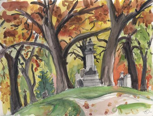 autumn cemetery watercolor urbanlandscape cedarfallsiowa hotpresswatercolorpaper 5bpencil marciamilnerbrage