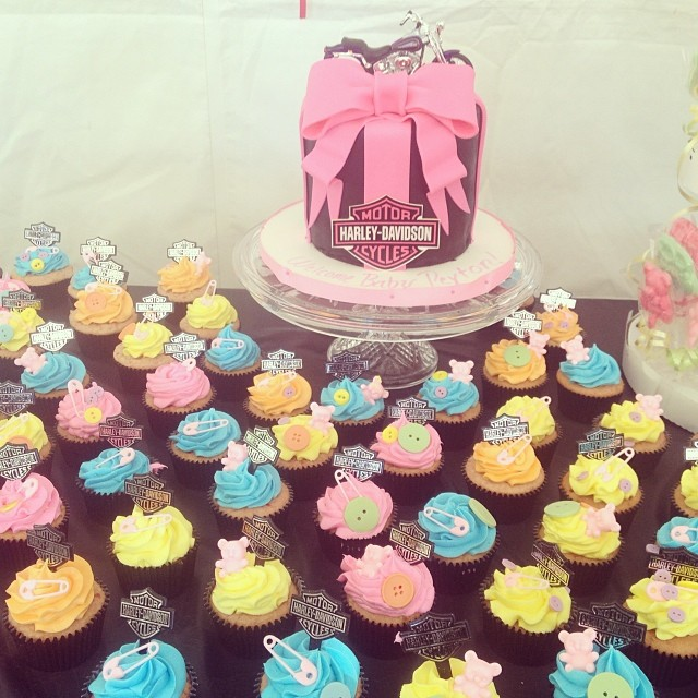 harley davidson baby shower cake and cupcakes harleycake harley