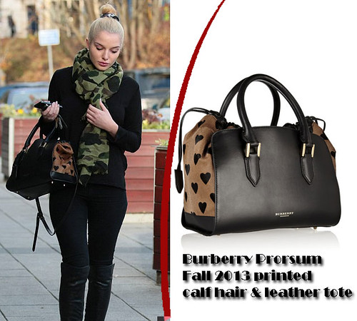 Burberry Prorsum printed calf hair & leather tote bag.