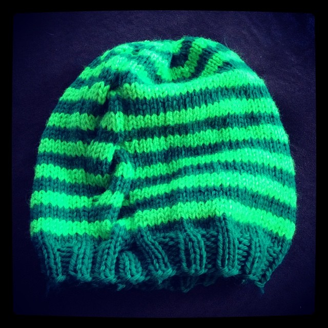 The Dude's hat is done!  Can't wait to see it on him!! #knit #knitting #handknit #hat #stripes