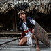 Adi-Minyong tribes man in warrior clothesin the village near Pasigath, Arunachal Pradesh