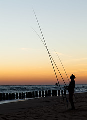 horizon, beach, sand, fishing, sea, ocean, evening, wind, surf fishing, wave, shore, morning, coast, fisherman, dusk, sunset, sunrise,