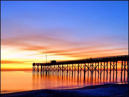 sunset beach gulfofmexico pier twilight sand quiet florida serene panamacitybeach fishingpier endofday standrewsstatepark corelpaintshoppro floridastateparks nikond3100 nikkor1855afsvrlens