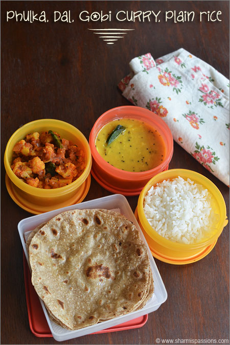 Kids lunch box menu3 phulka dal tadka gobi sabzi and plain rice phulka dal gobi currysabzi and plain rice forumfinder Images