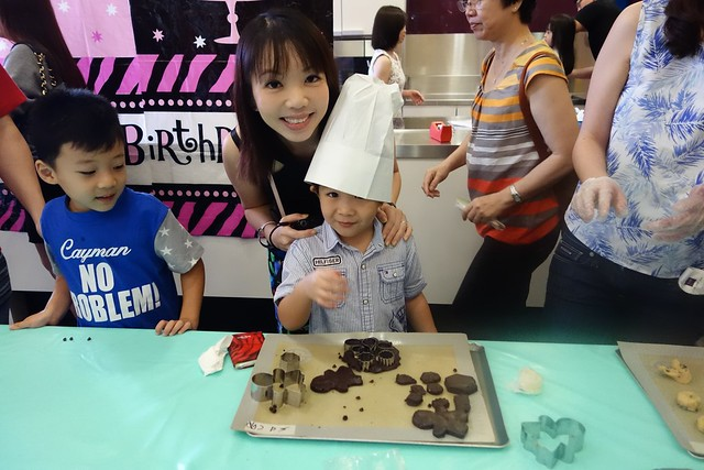 Zachary the birthday boy, making chocolate cookies!