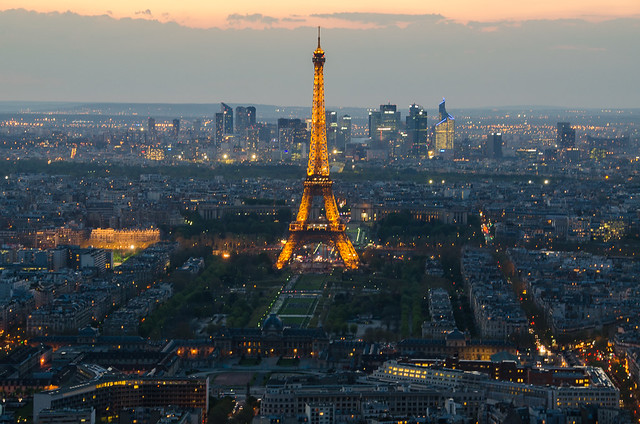 The Eiffel Tower at Dusk - View from the Montparnasse Tower