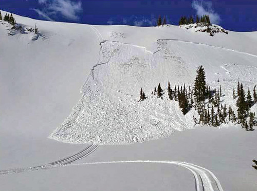 A slab avalanche triggered by a snowmobile. (Friends of Bridget-Teton Avalanche Center)