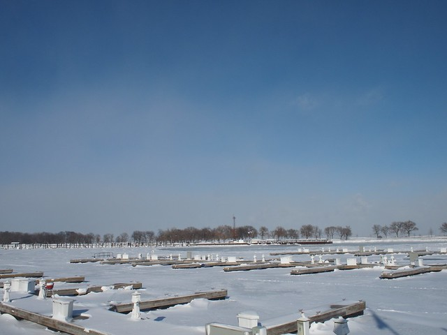 I love the frozen winter harbor.