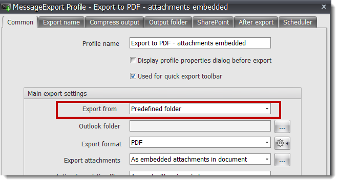 screenshot showing how to select an Outlook email folder for export.
