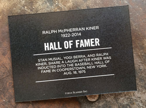 2014 SlangKo Ralph Kiner Hall of Famer back