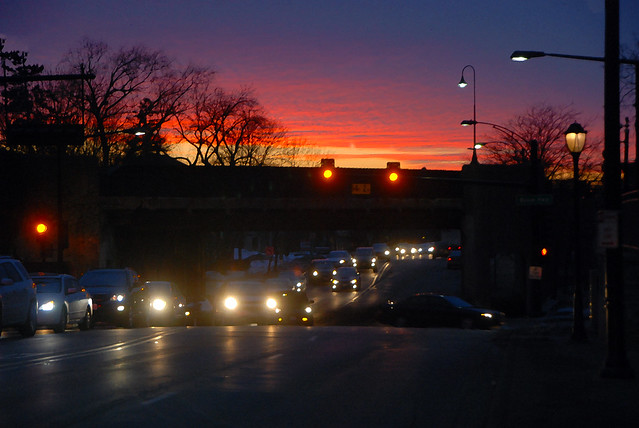 Sunset and Traffic on Touhy Ave, Park Ridge, February 26, 2014 7-1 full bpc