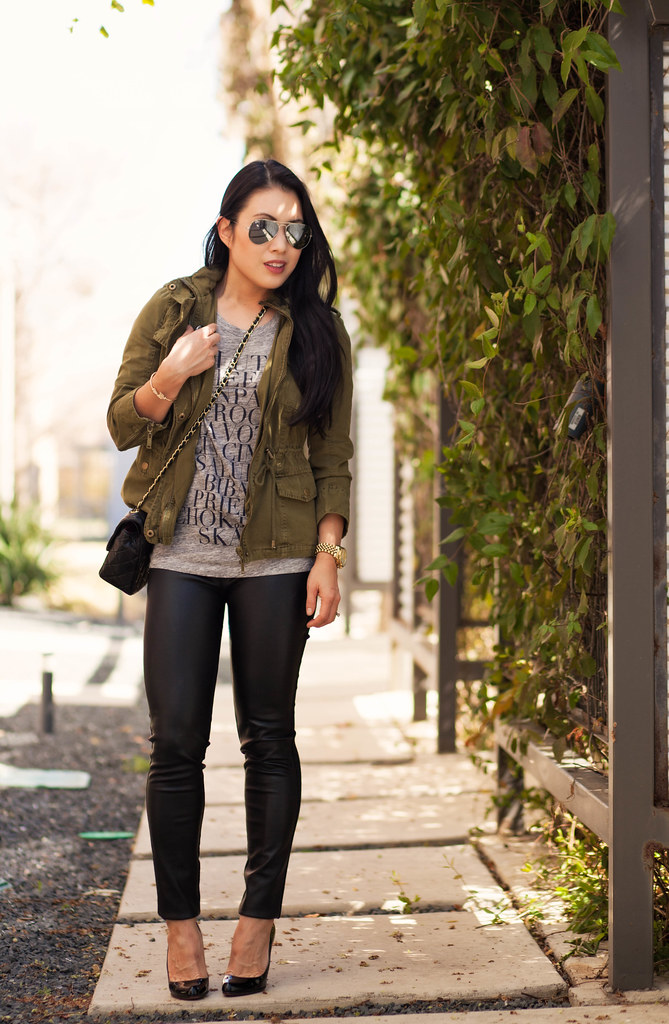 cute & little | petite fashion blog | casual edgy outfit | utility jacket, graphic tee, leather ponte pants, ray-ban mirrored aviators