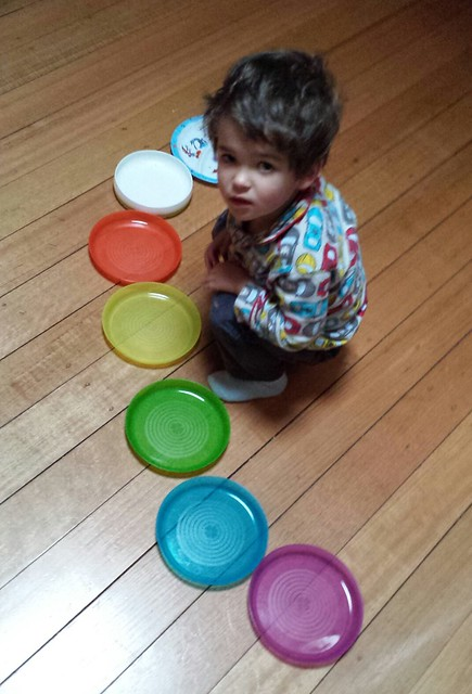 Snake made of plates in rainbow order; I'm so proud