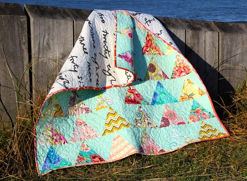 Spring Colours quilt at the beach