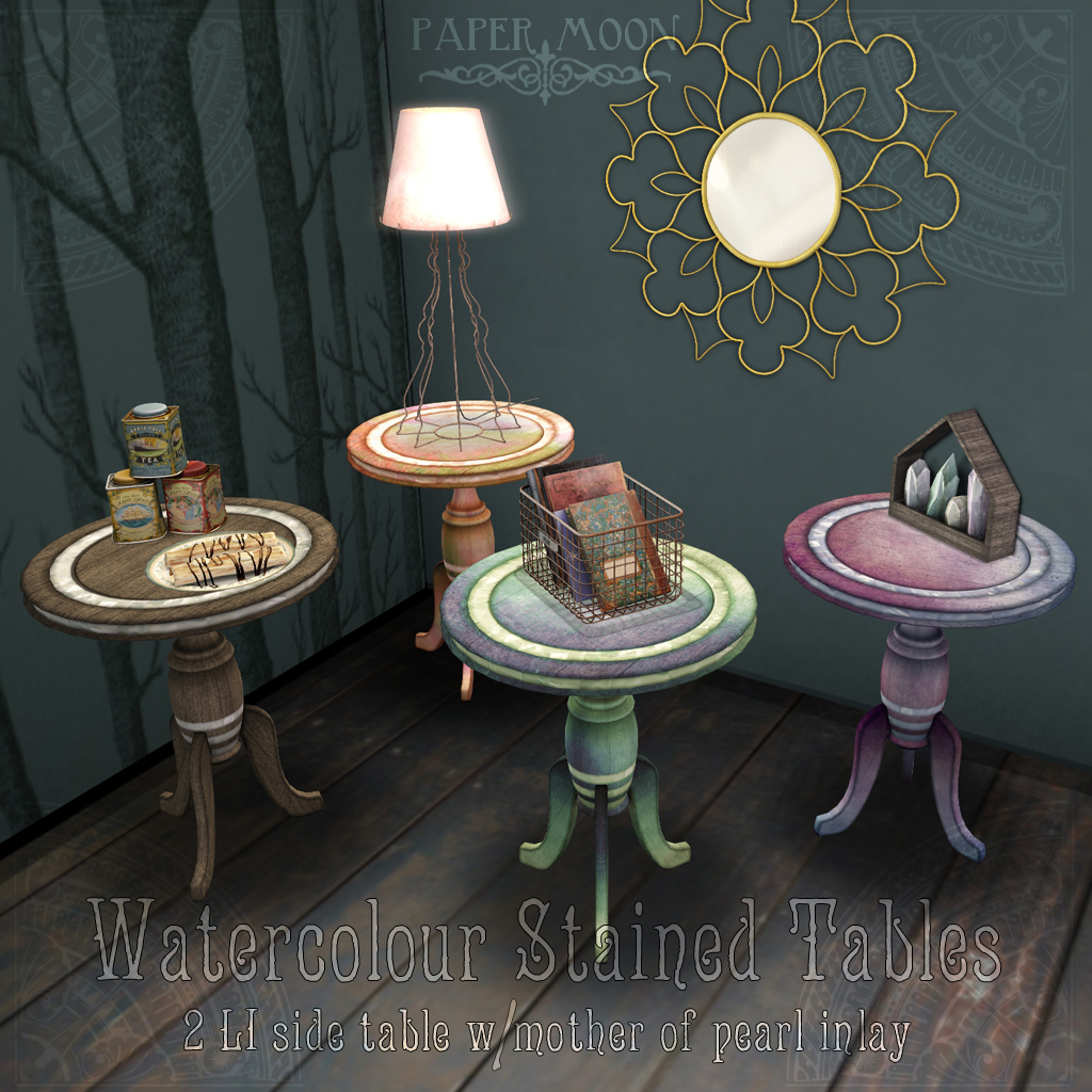 *pm* Watercolour Stained Tables advert - SecondLifeHub.com