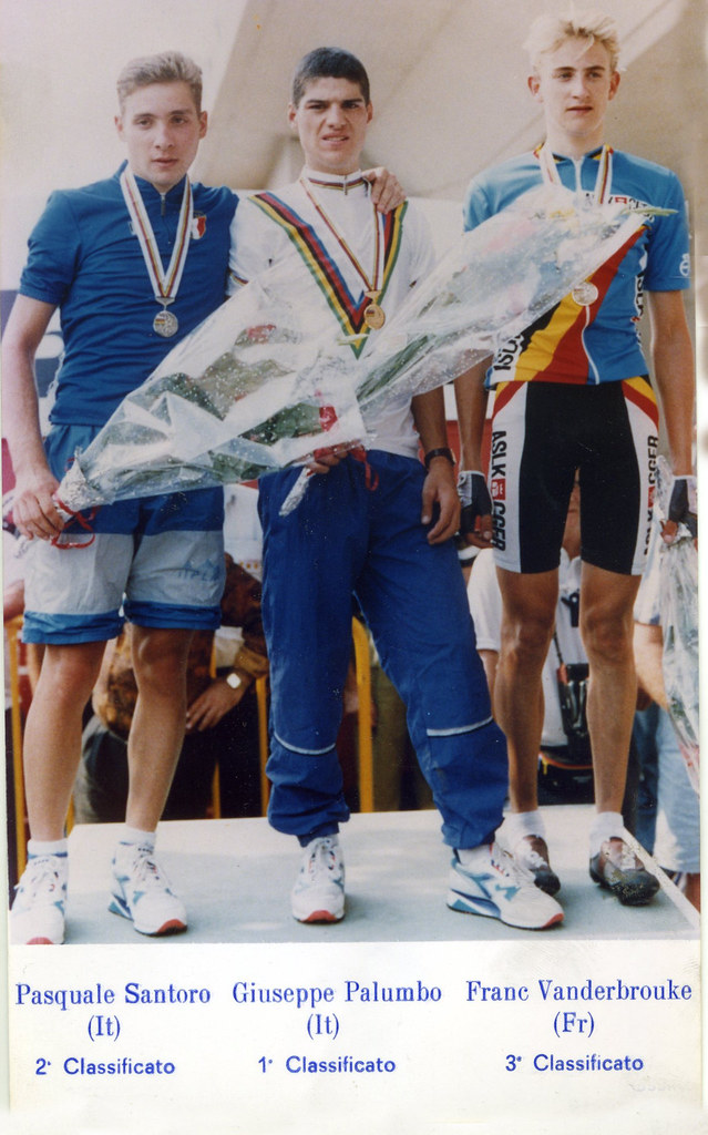 Il podio del campionato del mondo juniores del 1992 (vittoria Palumbo Giuseppe - 2° Pasquale Santoro e 3° Frank Vandenbroucke)