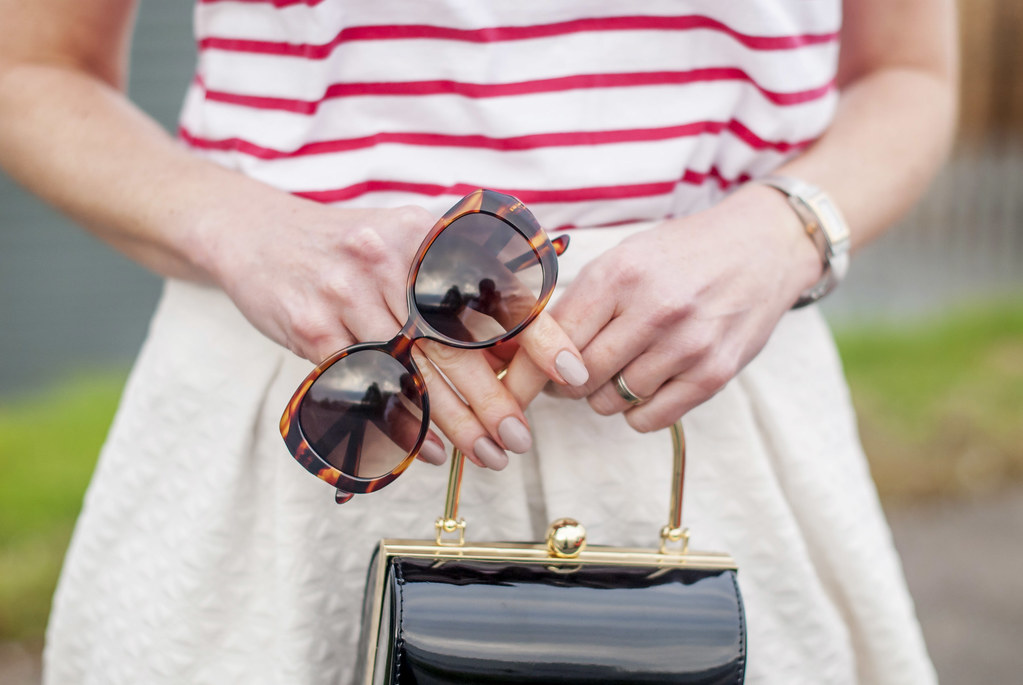 Perfect spring outfit: Red Breton stripe t-shirt white full midi skirt black d'Orsay patent heels tortoiseshell sunglasses black box handbag | Not Dressed As Lamb