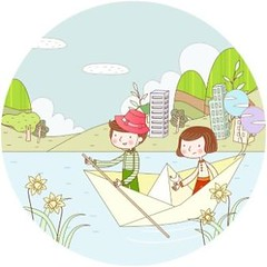 free vector kids Playing On The Water Background