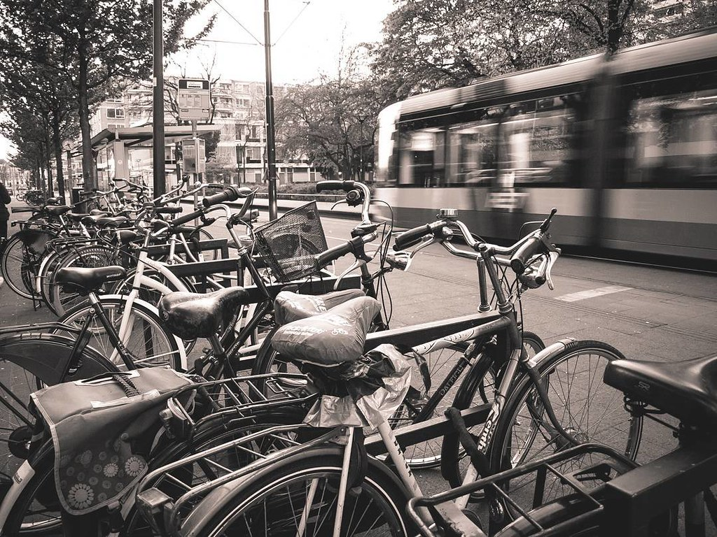 Bikes and tram. #rotterdamcity #rottergram #rotterdam #b&w #blackandwhite #travelphoto #photography