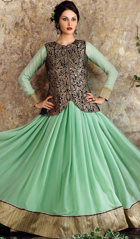 Green Color Georgette Embroidered Long Anarkali Suit