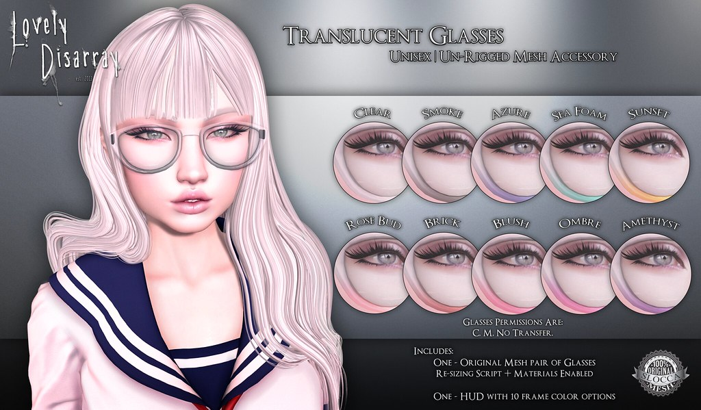 Lovely Disarray - Translucent Glasses @ The Kawaii Project - SecondLifeHub.com