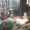 Having breakfast with these two punk kids before work.  この2人と仕事前の朝食。 #双子#ハーフ#マヤ#ジョジョ #twins #cute #punkkids #babies #breakfast #lovethem @jocelyn_and_maya