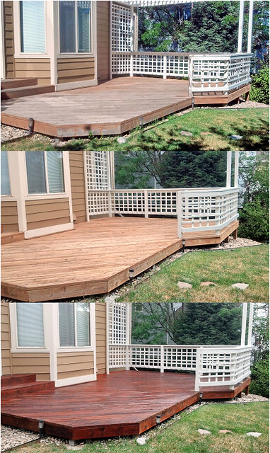 Redwood Deck Before Refinishing After Stripping And