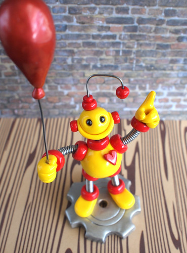 Commission: 1st Birthday Cake Topper: yellow and red with a balloon by HerArtSheLoves