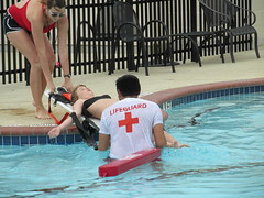 Lifeguards attempting mock-rescue