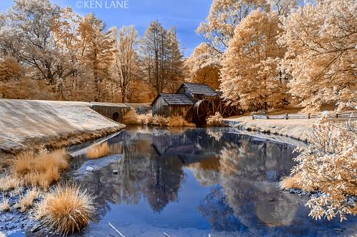 reflection reflections ir nikon northcarolina infrared nikkor blueridgeparkway watermill mabrymill d300 brp pondreflection nikond300 665nm kolarivision