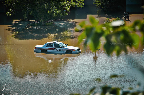 Even police had trouble getting around during the recent flooding. Photo by Jon Pernul.