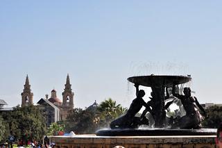 Triton Fountain en las puertas de entrada a la ciudad vieja de La Valeta