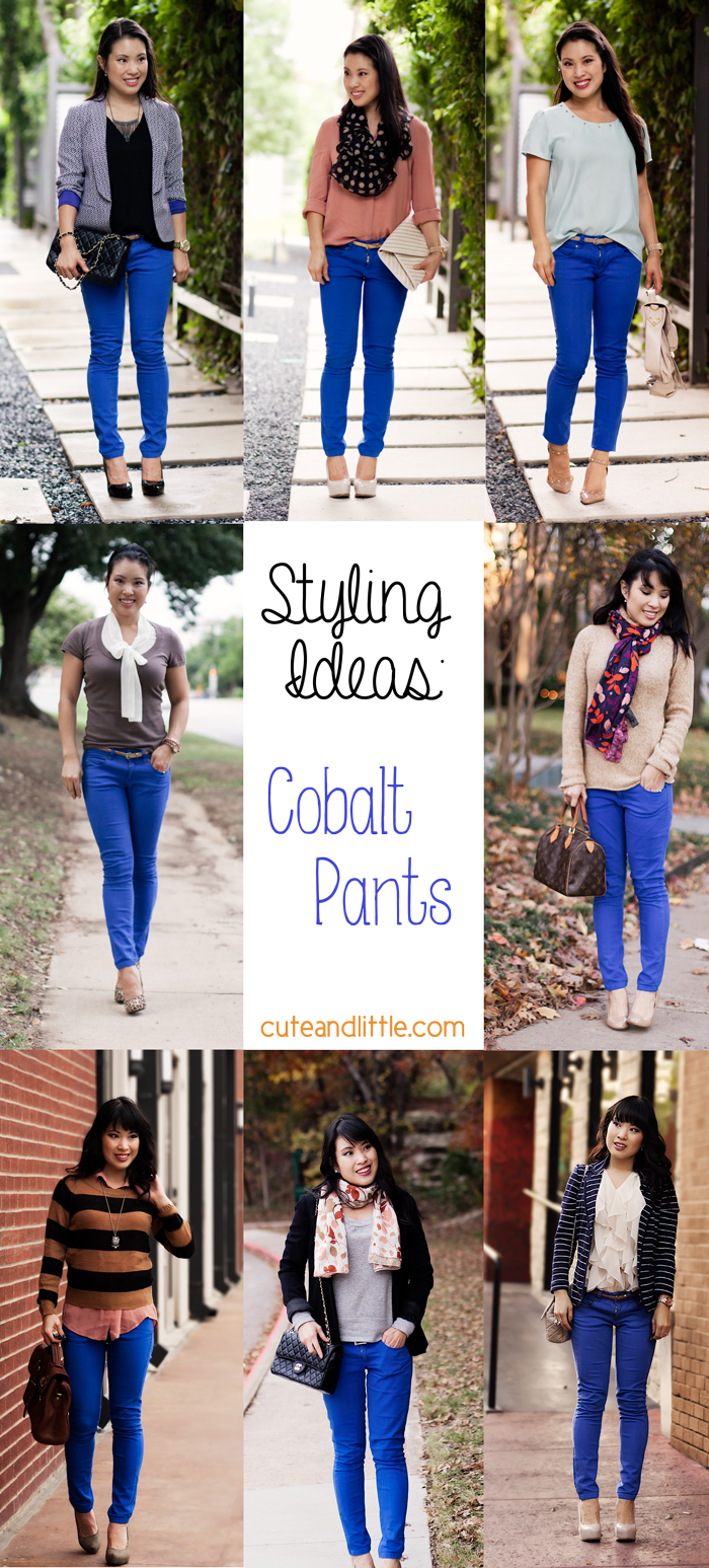 styling outfit inspiration ideas cobalt blue pants