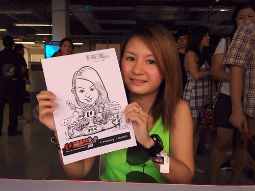 caricature live sketching for NTUC U Grand Prix Experience 2013 - 3