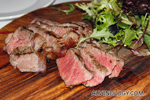 the beautiful steak sliced into bite-size pieces for sharing