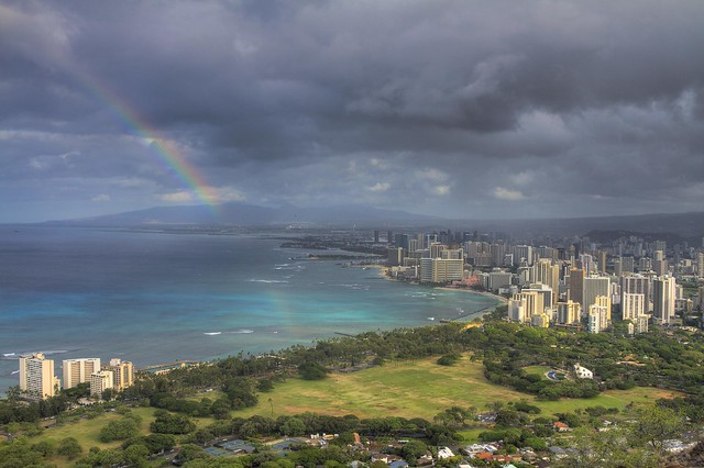 Rainbow over Waikiki. View from Diamond Head, Honolulu, Oahu, Hawaii