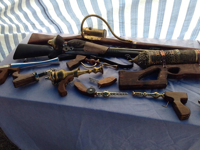 Steampunk weapons at the Tulsa Mini Maker Faire 2013