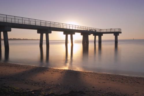 nyc sky beach water sunrise pier sand nikon waves sunny clear statenisland d5200 lemoncreekfishingpier machineswithsouls
