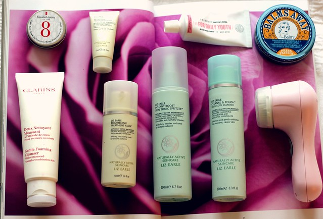 Beauty Favourites Liz Earle Clarisonic The Balm Clarins Elizabeth Arden Soap and Glory